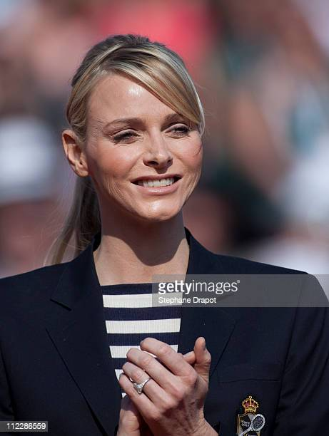 Charlene Wittstock on the tennis court during the Monte Carlo Rolex Masters April 17 2011 in Monaco Monaco