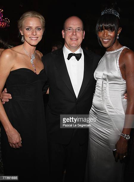 Charlene Wittstock Prince Albert II of Monaco and Naomi Campbell attend the 'Unite For A Better World Gala Dinner' on September 2 2007 at the Hotel...