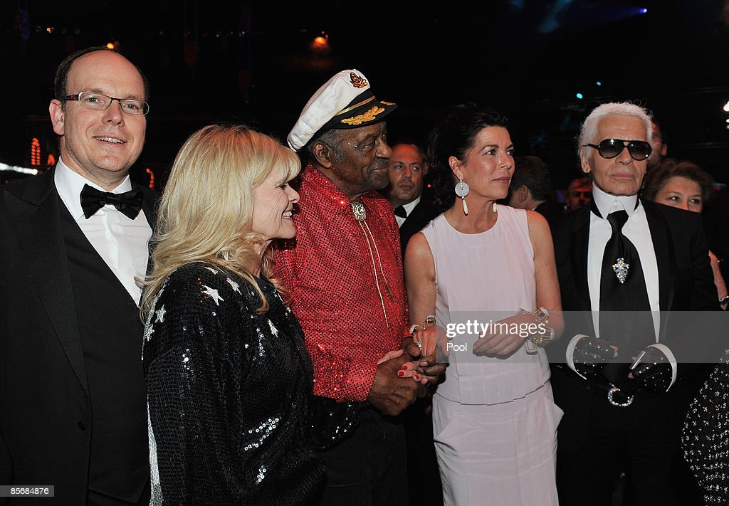 Charlene Wittstock, Prince Albert II of Monaco, unidentified guest, Chuck Berry, Princess Caroline of Hanover and Karl Lagerfeld arrive at the 2009 Monte Carlo Rock' N Rose Ball held at The Sporting Monte Carlo on March 28, 2009 in Monte Carlo, Monaco.