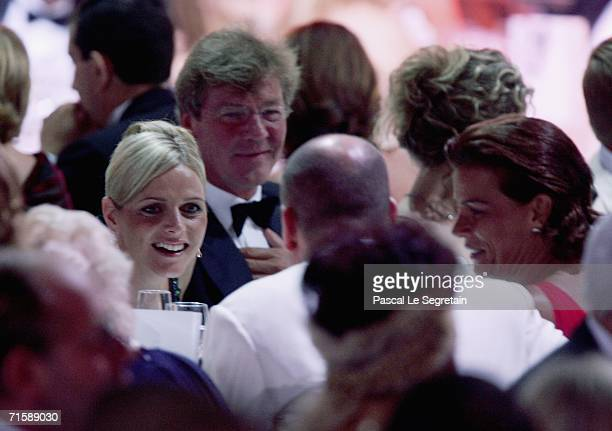 Charlene Wittstock prince Ernst August of Hanover prince Albert II and princess Stephanie of Monaco attend the Monaco Red Cross Ball dinner under the...