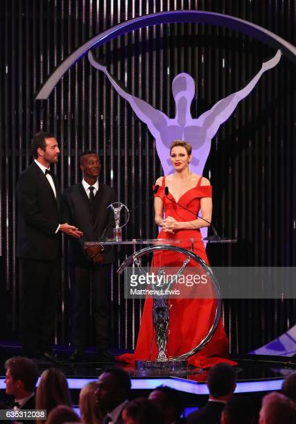 CharlenePrincess of Monaco speaks as the winners of the Laureus Sport For Good award from Waves For Change look on during the 2017 Laureus World...