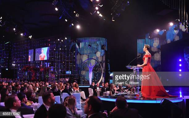 CharlenePrincess of Monaco speaks on stage during the 2017 Laureus World Sports Awards at the Salle des EtoilesSporting Monte Carlo on February 14...
