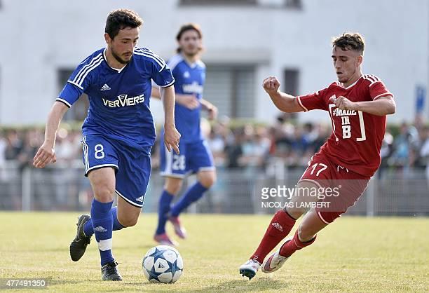 Charleroi's BelgianTurkish midfielder Enes Saglik and Nice's Belgian midfielder Julien Vercauteren vie for the ball on June 17 in Andrimont during a...