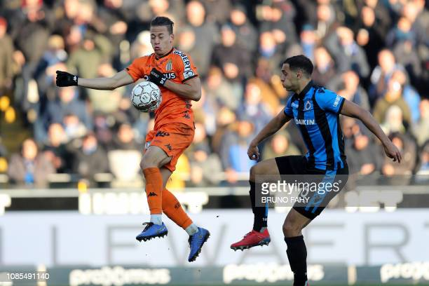 Charleroi's Christian Benavente and Club's Sofyan Amrabat fight for the ball during a soccer match between Club Brugge and Charleroi Sunday 20...