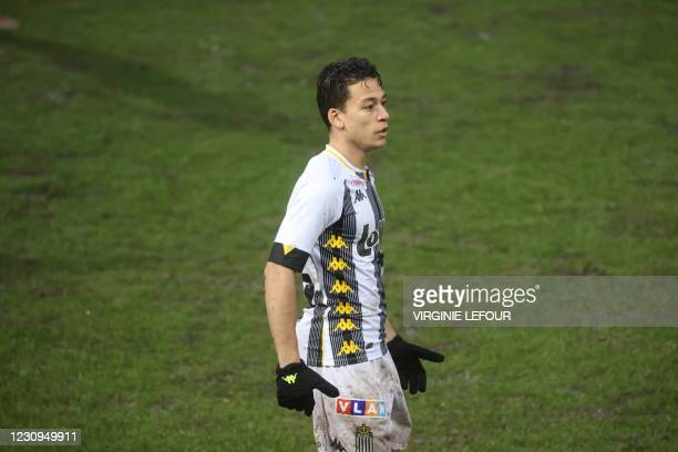 Charleroi's Cristian Benavente reacts at a soccer game between Sporting Charleroi and KVC Westerlo , Wednesday 03 February 2021 in Charleroi, in the...