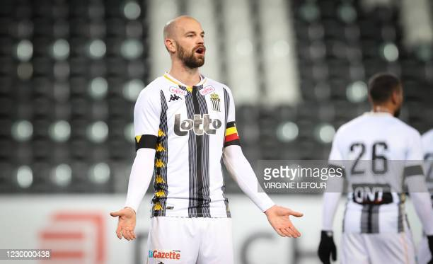 Charleroi's Dorian Dessoleil gestures during a soccer match between Sporting Charleroi and KV Kortrijk, Monday 07 December 2020 in Charleroi, on day...