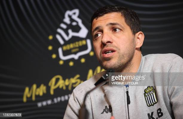 Charleroi's head coach Karim Belhocine pictured during a press conference of Belgian soccer team Sporting Charleroi in Charleroi, Friday 16 April...
