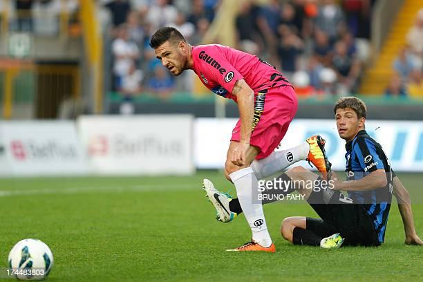 Charleroi's ItaloBelgian forward Giuseppe Rossini vies for the ball with Club Brugge's Belgian defender Brandon Mechele during the Jupiler Pro League...