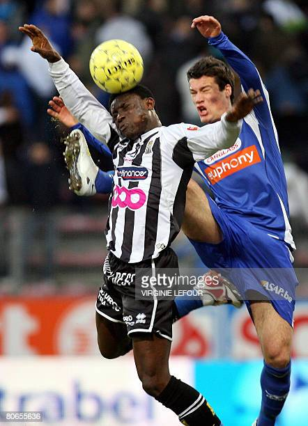 Charleroi's Jospeh Akpala vies with Genk's Sven Verdonck for the ball during their Belgian first league soccer match on day 30 of the Belgian Jupiler...