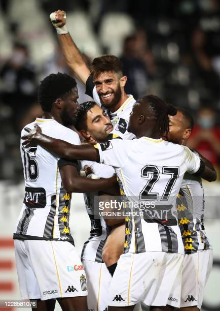 Charleroi's Kaveh Rezaei and Charleroi's Ali Gholizadeh celebrates after scoring during a soccer match between Sporting Charleroi and Beerschot VA,...