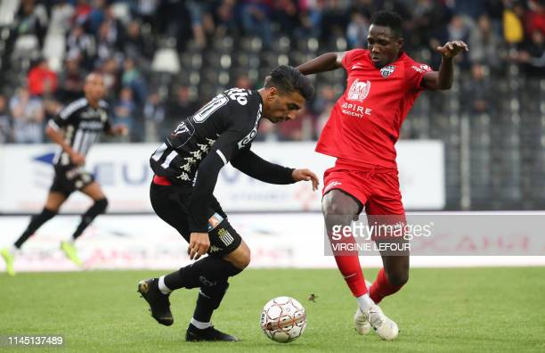 Charleroi's Younes Delfi and Eupen's Sulayman Marreh fight for the ball during a soccer game between Sporting Charleroi and KAS Eupen Saturday 18 May...