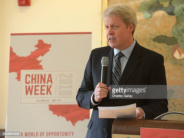 Charles, 9th Earl Spencer delivers remarks at ChinaWeek's Business Summit VIP Dinner at Empress Pavilion on May 11, 2016 in Los Angeles, California.