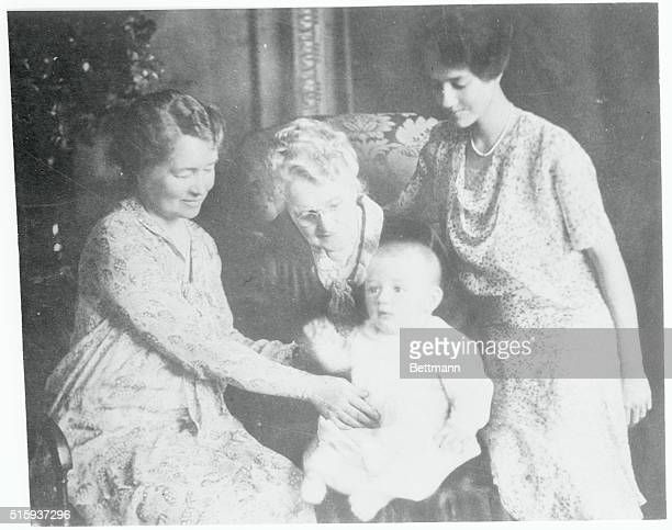Charles A Lindbergh Jr son of the flier is shown with his mother grandmother and greatgrandmother Young Lindy is just seven months old Right to left...