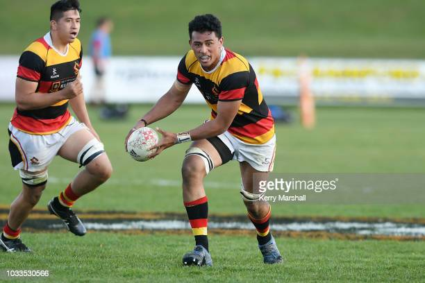 Charles Alaimalo of Waikato looks to run during the Jock Hobbs U19 Rugby Tournament on September 15 2018 in Taupo New Zealand