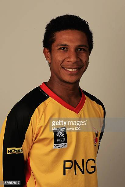 Charles Amini of Papua New Guinea pictured during a headshot session ahead of the ICC World Twenty20 Qualifiers on November 11 2013 in Dubai United...