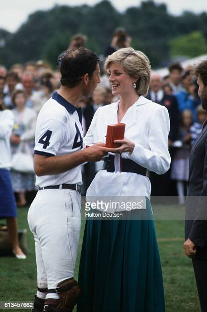 Charles and Diana Prince and Princess of Wales at a polo match at Smiths Lawn