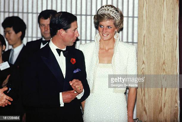 Charles and Diana Prince and Princess of Wales at the Culture Centre during their official visit to Hong Kong on November 8 1989 in Hong Kong The...