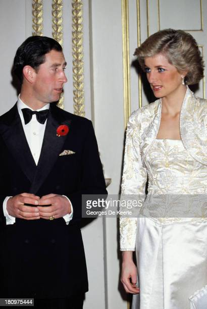 Charles and Diana, Prince and Princess of Wales, attend a banquet hosted by former French President Francois Mitterrand at the Elysee Palace during...