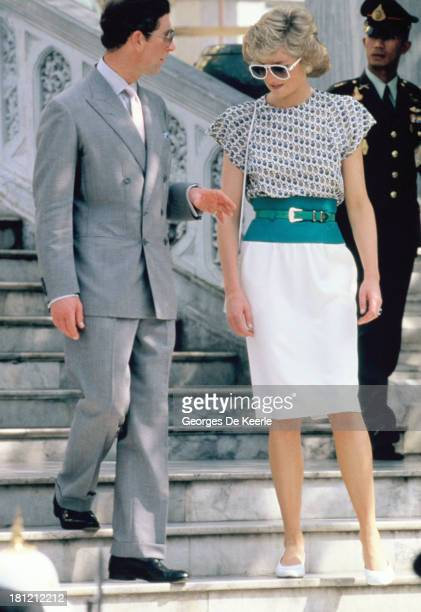 Charles and Diana Prince and Princess of Wales during their official visit to Bangkok on February 5 1988 in Bangkok Thailand