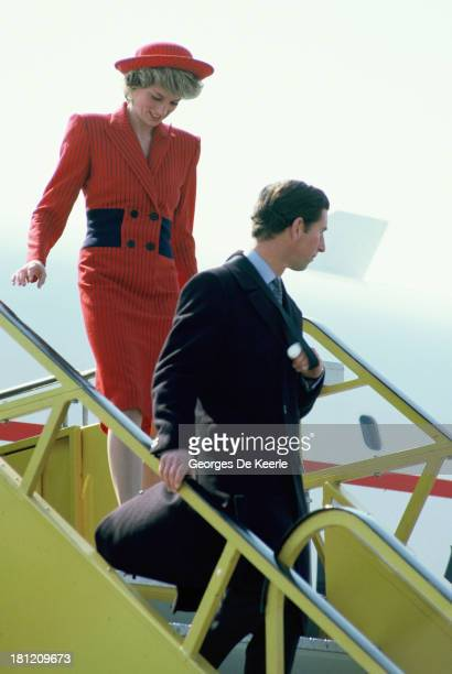 Charles and Diana Prince and Princess of Wales just landed in Austria for their official visit on April 14 1986