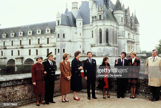 Charles and Diana Prince and Princess of Wales outside Chateau de Chambord during their official visit to France on November 9 1988 in Chambord France