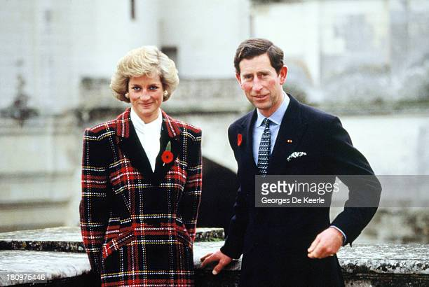 Charles and Diana, Prince and Princess of Wales, pose outside Chateau de Chambord during their official visit to France on November 9, 1988 in...