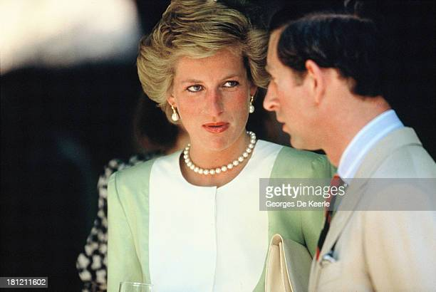 Charles and Diana, Prince and Princess of Wales, visit the hungarian plains in Bugac during their official visit to Hungary on May 9, 1990 in Bugac,...
