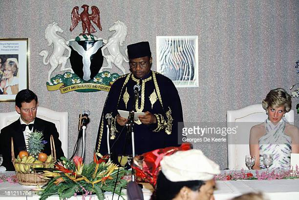 Charles and Diana Prince and Princess of Whales attend a State Banquet with the former Nigerian president Ibrahim Babangida during their official...