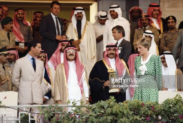 Charles and Diana the Prince and Princess of Wales during a visit to Riyadh in Saudi Arabia November 1986
