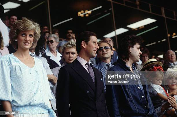 Charles and Diana the Prince and Princess of Wales with Bob Geldof and Paula Yates at the Live Aid concert at Wembley Stadium in 1985
