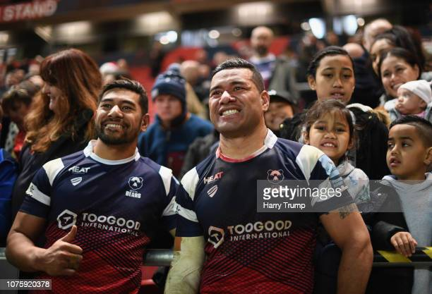 Charles and Siale Piutau of Bristol Bears pose after their sides victory during the Gallagher Premiership Rugby match between Bristol Bears and...