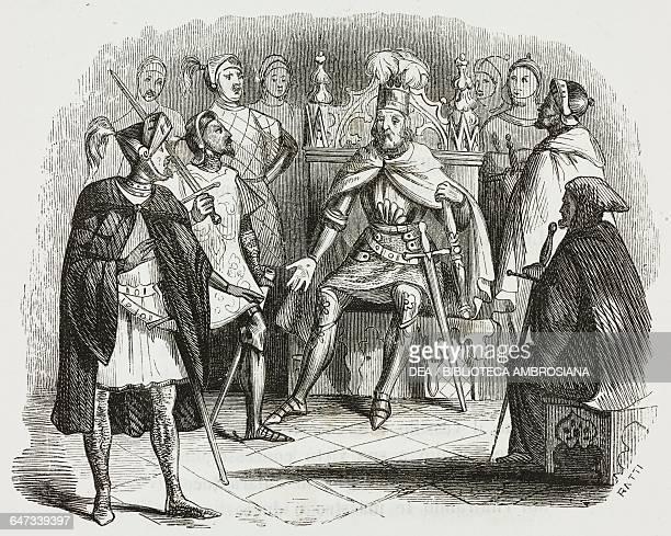 Charles and Ubaldo before Godfrey of Bouillon volunteering to go find Rinaldo, illustration from The Liberation of Jerusalem by Torquato Tasso ,...