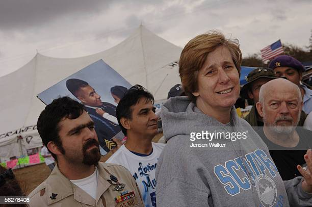 Charles Anderson Juan Torres Cindy Sheehan Hiram Myers and other members of Gold Star Families for peace speak to the press at Camp Casey on November...