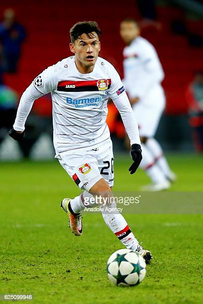 Charles Aranguiz of Bayer Leverkusen in action during the UEFA Champions League Group E match between CSKA Moscow and Bayer Leverkusen at the CSKA...
