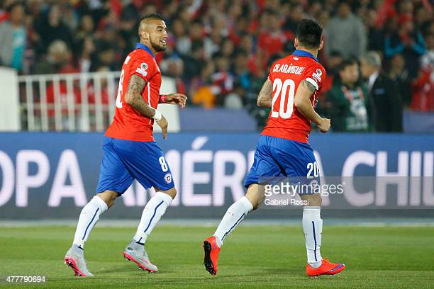 Charles Aranguiz of Chile celebrates after scoring the opening goal during the 2015 Copa America Chile Group A match between Chile and Bolivia at...