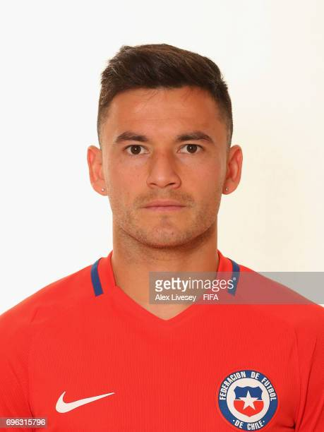 Charles Aranguiz of Chile during a portrait session ahead of the FIFA Confederations Cup Russia 2017 at the Crowne Plaza Hotel on June 15 2017 in...