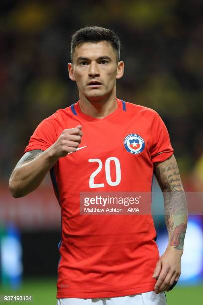 Charles Aranguiz of Chile during the International Friendly match between Sweden and Chile at Friends arena on March 24 2018 in Solna Sweden