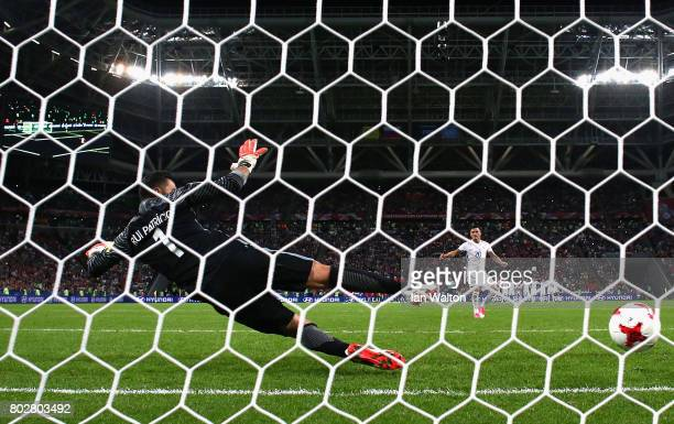 Charles Aranguiz of Chile scores his sides second penalty past Rui Patricio of Portugal during the FIFA Confederations Cup Russia 2017 SemiFinal...