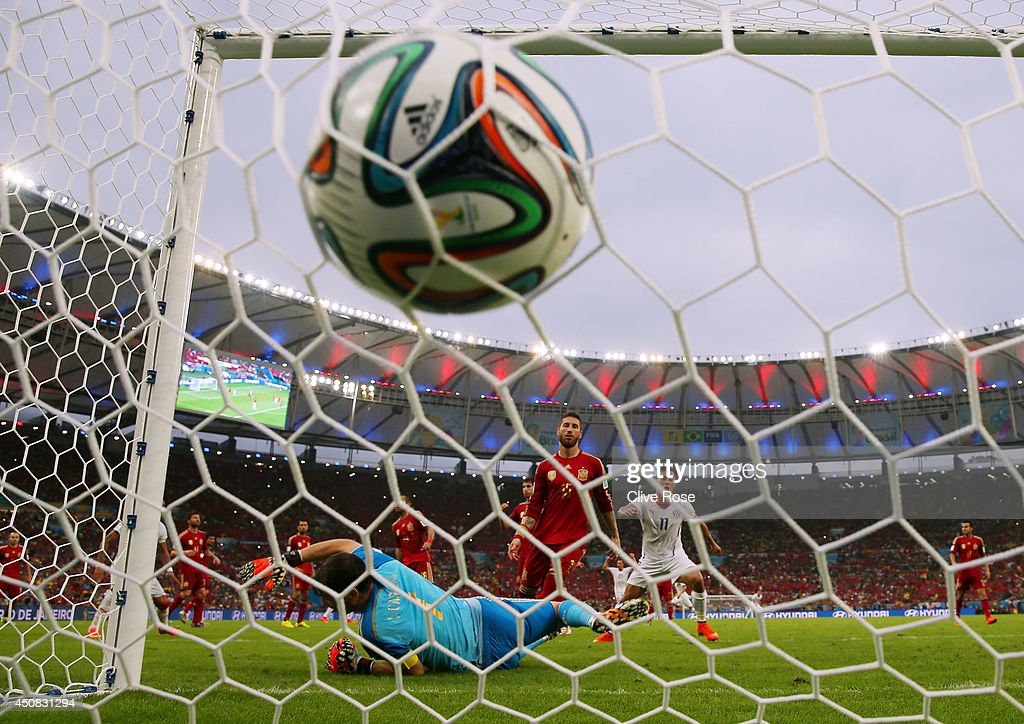 Charles Aranguiz of Chile (not pictured) scores the second goal past Iker Casillas of Spain during the 2014 FIFA World Cup Brazil Group B match between Spain and Chile at Maracana on June 18, 2014 in Rio de Janeiro, Brazil.