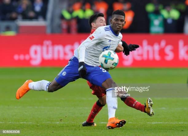 Charles Aranguiz of Leverkusen and Breel Embolo of Schalke battle for the ball during the Bundesliga match between Bayer 04 Leverkusen and FC Schalke...