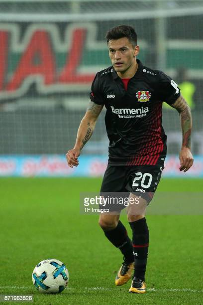 Charles Aranguiz of Leverkusen controls the ball during the Bundesliga match between FC Augsburg and Bayer 04 Leverkusen at WWKArena on November 4...