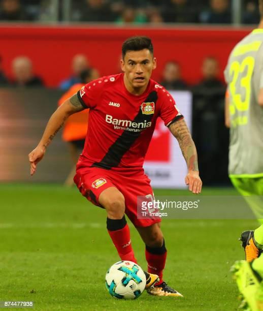 Charles Aranguiz of Leverkusen controls the ball during the Bundesliga match between Bayer 04 Leverkusen and 1 FC Koeln at BayArena on October 28...
