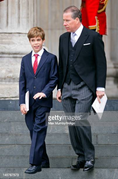 Charles ArmstrongJones and Lord Linley attend a Service of Thanksgiving to celebrate Queen Elizabeth II's Diamond Jubilee at St Paul's Cathedral on...