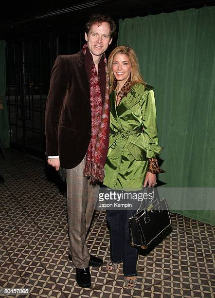 Charles Askegard and Candace Bushnell attend The Cinema Society and Linda Wells after party of Smart People at the Bowery Hotel on March 31 2008 in...