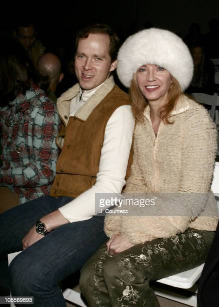 Charles Askegard and Candace Bushnell during Olympus Fashion Week Fall 2005 Tulah Backstage and Front Row at The Plaza in New York City New York...
