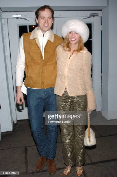 Charles Askegard and Candace Bushnell during Olympus Fashion Week Fall 2005 Luca Luca Front Row and Backstage at Bryant Park Tents in New York City...