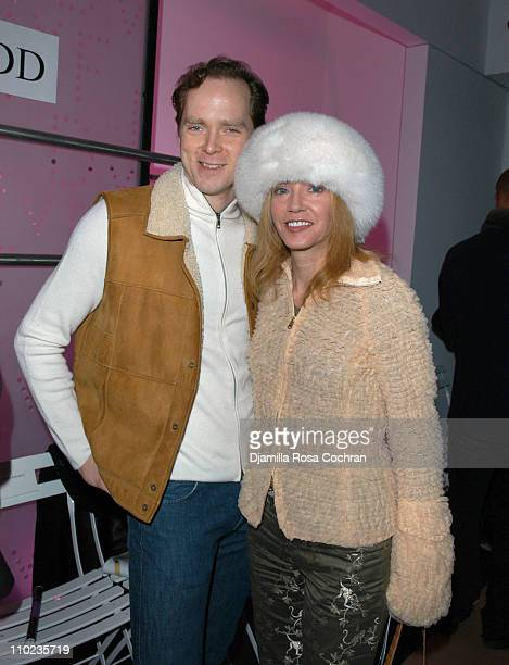 Charles Askegard and Candace Bushnell during Olympus Fashion Week Fall 2005 Diane Von Furstenberg Backstage and Front Row at 389 West 12th Str in New...