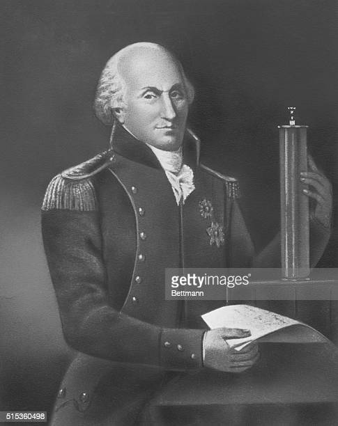 Charles August de Coulomb French physicist After a gravure Screened image Undated