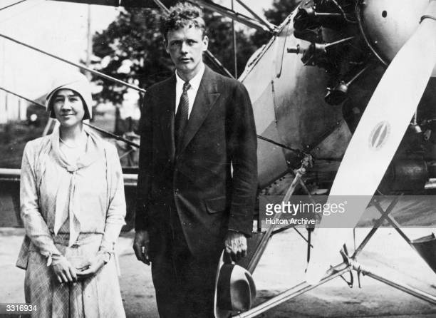 Charles Augustus Lindbergh and his bride writer Anne Morrow Lindbergh in their first posed picture since their marriage