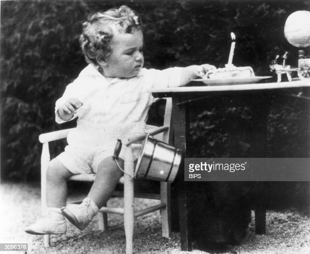Charles Augustus Lindbergh Jnr, son of the American aviator, on his first birthday. A few months later he was kidnapped from his home and murdered.